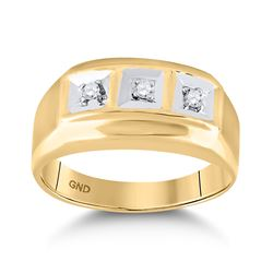 1/10 CTW Mens Round Diamond 3-stone Ring 10kt Yellow Gold - REF-20A3N
