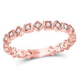 1/10 CTW Round Diamond Squares Stackable Ring 14kt Rose Gold - REF-16R8H