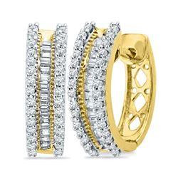 1/2 CTW Round Baguette Diamond Hoop Earrings 10kt Yellow Gold - REF-35N9Y