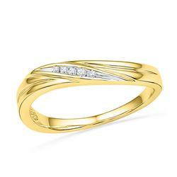 0.02 CTW Round Diamond Contoured Ring 10kt Yellow Gold - REF-9H3W