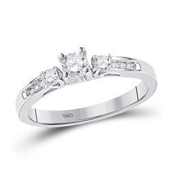 1/2 CTW Round Diamond 3-stone Bridal Wedding Engagement Ring 10kt White Gold - REF-45M6A