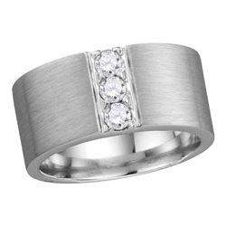 1/2 CTW Mens Round Diamond 3-stone Matte Wedding Ring 14kt White Gold - REF-149W9F