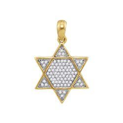 1/5 CTW Mens Round Diamond 6-Point Star Magen David Charm Pendant 10kt Yellow Gold - REF-14F4M