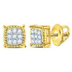 1/10 CTW Mens Round Diamond Square Milgrain Cluster Earrings 10kt Yellow Gold - REF-8H4W