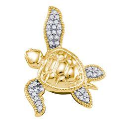 1/10 CTW Diamond Sea Turtle Tortoise Animal Shell Pendant 10kt Yellow Gold - REF-10N8Y