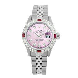 Rolex Pre-owned 26mm Womens Custom Pink Stainless Steel - REF-470H2N