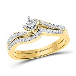 1/5 CTW Round Diamond Bridal Wedding Engagement Ring 10kt Yellow Gold - REF-24X3T
