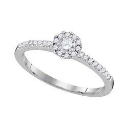 1/3 CTW Round Diamond Solitaire Slender Halo Bridal Wedding Engagement Ring 10kt White Gold - REF-27