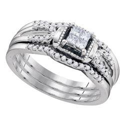1/4 CTW Princess Diamond 3-Piece Bridal Wedding Engagement Ring 10kt White Gold - REF-27F5M