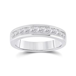 1 CTW Princess Channel-set Diamond Single Row Wedding Ring 14kt White Gold - REF-95R9H
