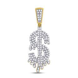 3/8 CTW Mens Round Diamond Dollar-Sign Charm Pendant 10kt Yellow Gold - REF-24K3R