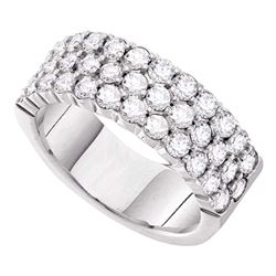 2 CTW Round Pave-set Diamond Triple Row Wedding Ring 14kt White Gold - REF-167R9H