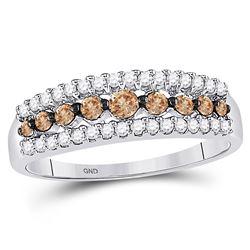 1/2 CTW Round Brown Diamond Triple Row Ring 10kt White Gold - REF-20Y3X