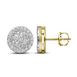 1 CTW Round Diamond Framed Flower Cluster Screwback Earrings 10kt Yellow Gold - REF-54K3R