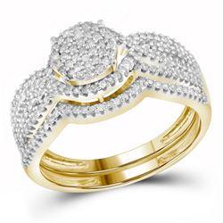 1/2 CTW Round Diamond Cluster Bridal Wedding Engagement Ring 10kt Yellow Gold - REF-35T9K