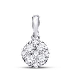 1/2 CTW Round Diamond Fashion Cluster Pendant 14kt White Gold - REF-45T3K