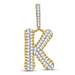 1 & 1/3 CTW Mens Round Diamond K Letter Charm Pendant 10kt Yellow Gold - REF-75H5W