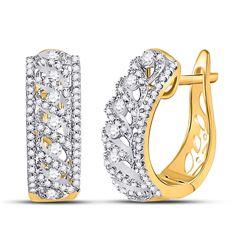 3/4 CTW Round Diamond Crisscrossed Openwork Hoop Earrings 10kt Yellow Gold - REF-51T5K