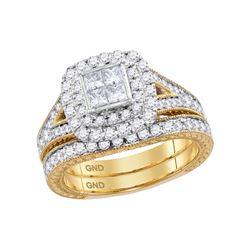 1 & 1/4 CTW Princess Diamond Bridal Wedding Engagement Ring 14kt Yellow Gold - REF-126X3T