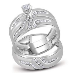 1/4 CTW His & Hers Round Diamond Solitaire Matching Bridal Wedding Ring 14kt White Gold - REF-45K6R