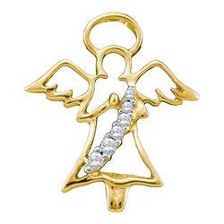 1/20 CTW Round Diamond Praying Guardian Angel Pendant 10kt Yellow Gold - REF-7R5H