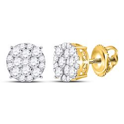 1 CTW Round Diamond Circle Cluster Earrings 14kt Yellow Gold - REF-65M9A