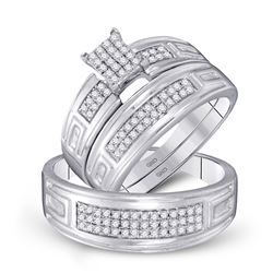 1/2 CTW His & Hers Round Diamond Cluster Matching Bridal Wedding Ring 10kt White Gold - REF-39M6A