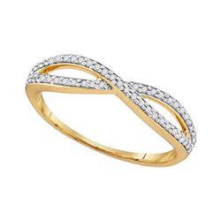 1/6 CTW Round Diamond Crossover Ring 10kt Yellow Gold - REF-11K9R