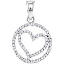 1/4 CTW Round Diamond Circular Captured Heart Circle Pendant 10kt White Gold - REF-14N4Y