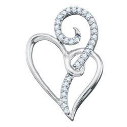 1/10 CTW Round Diamond Heart Pendant 10kt White Gold - REF-10X8T