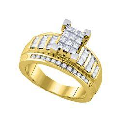 7/8 CTW Princess Diamond Cluster Bridal Wedding Engagement Ring 10kt Yellow Gold - REF-54Y3X