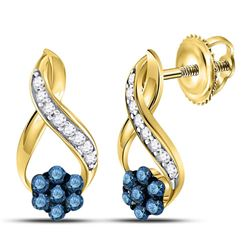 1/5 CTW Round Blue Color Enhanced Diamond Cluster Earrings 10kt Yellow Gold - REF-11M9A
