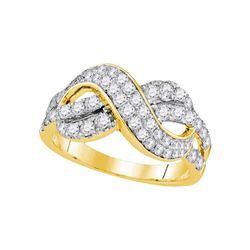 1 CTW Round Diamond Infinity Crossover Ring 14kt Yellow Gold - REF-71N9Y