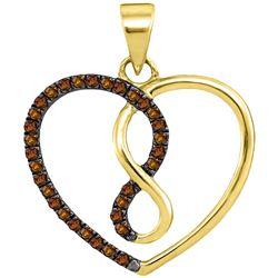 1/8 CTW Round Brown Diamond Heart Infinity Pendant 10kt Yellow Gold - REF-9Y6X