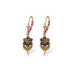 Genuine 2.12 ctw Peridot & Amethyst Earrings 14KT Rose Gold - REF-42W4Y
