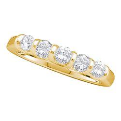 1 CTW Round Diamond 5-stone Wedding Anniversary Ring 14kt Yellow Gold - REF-111F3M