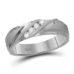 1/6 CTW Mens Round Diamond Wedding Channel Set Ring 10kt White Gold - REF-39R3H
