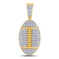 1 & 1/3 CTW Mens Round Diamond Football Charm Pendant 10kt Yellow Gold - REF-54M3A