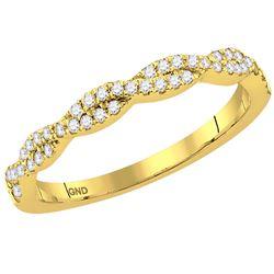 1/4 CTW Round Diamond Twist Stackable Ring 14kt Yellow Gold - REF-28F8M
