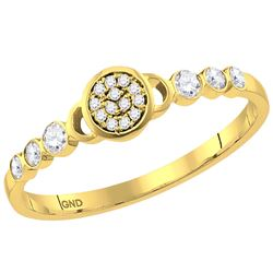 1/6 CTW Round Diamond Cluster Stackable Ring 10kt Yellow Gold - REF-14H4W
