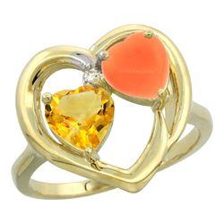 1.31 CTW Citrine & Diamond Ring 10K Yellow Gold - REF-23K5W