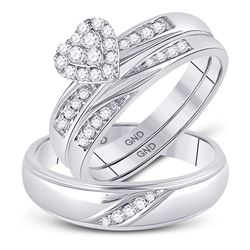 1/3 CTW His & Hers Round Diamond Heart Matching Bridal Wedding Ring 10kt White Gold - REF-37H5W