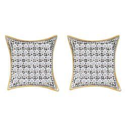 3/8 CTW Round Diamond Square Kite Cluster Screwback Earrings 10kt Yellow Gold - REF-24F3M