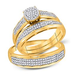 1/2 CTW His & Hers Round Diamond Cluster Matching Bridal Wedding Ring 10kt Yellow Gold - REF-47R9H