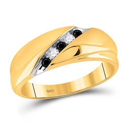 1/5 CTW Mens Round Black Color Enhanced Diamond Wedding Ring 10kt Yellow Gold - REF-19M2A