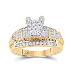 7/8 CTW Princess Diamond Cluster Bridal Wedding Engagement Ring 14kt Yellow Gold - REF-51M5A
