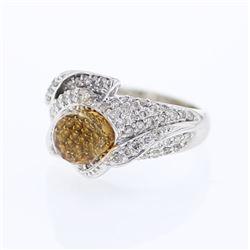 4.39 CTW Citrine & Diamond Ring 14K White Gold - REF-82K7W