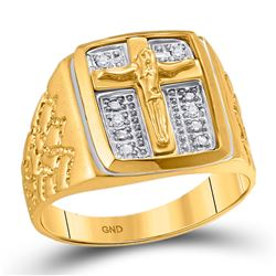 1/20 CTW Mens Round Diamond Crucifix Jesus Cross Ring 10kt Yellow Gold - REF-27M5A