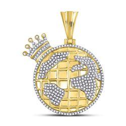 3/4 CTW Mens Round Diamond Globe Crown King Charm Pendant 10kt Yellow Gold - REF-60R3H