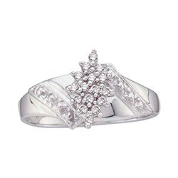 1/10 CTW Round Diamond Cluster Ring 10kt White Gold - REF-16T8K